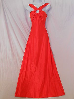 Vtg 1970s Retro Mod Glam Sexy Lounge Swim Dress Halter Maxi De Weese M L 13/14 #SPRING#DRESS#VINTAGE#VALENTINES#RED
