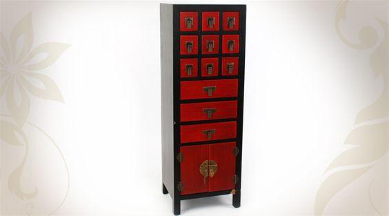 Chiffonnier rouge et noir de style japonais meubles for Ameublement style japonais