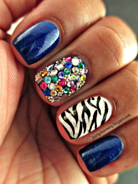 Fairly Charming | Rhinestones nail art  Not the zebra print. Gross: