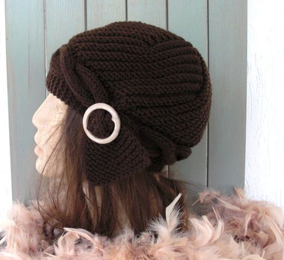 Hand Knit  hat  Slouchy Beanie Victorian  Brown Hat with by Ebruk,