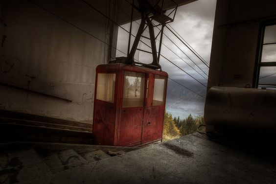 An abandoned cable car at an abandoned mental hospital. This would have been the only way up to the hospital in the winter. It's like something out of a Hitchcock movie...very cool!