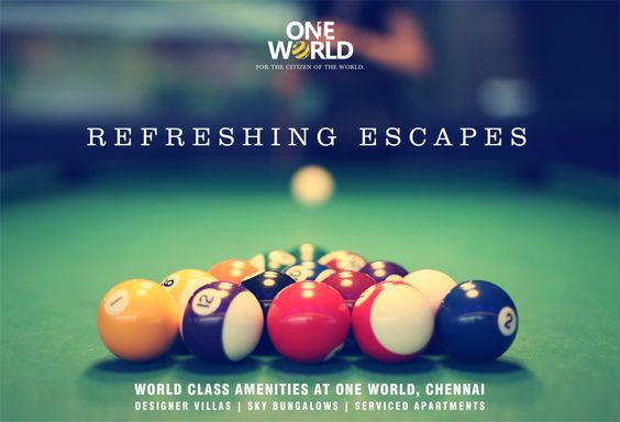 ONE WORLD present a fully equipped #gaming room. Equipped with a digital gaming arena and #billiards tables. A room dedicated to Refreshing Escapes! ☛ www.chennaioneworld.com