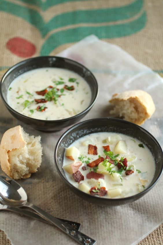 Hearty bowls of New England Clam Chowder