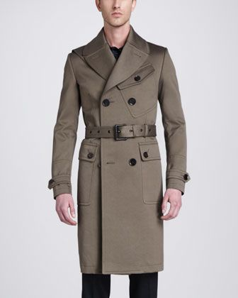 Belstaff Sutherland Long Trenchcoat, Bradley Racing Stripe Woven Print Shirt & Remston Trousers - Neiman Marcus
