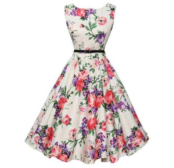 8 Cute & Inexpensive Vintage Summer Dresses by Grace Karin: Cute white floral vintage summer dress with pink and purple flowers and fit and flare silhouette by Grace Karin (Shop Style HERE)