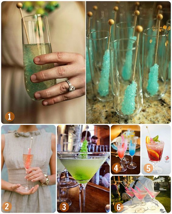 Rock Candy Filled Champagne Glasses: Rock Candy Cocktails--I Love Rock Candy Like WOW! This