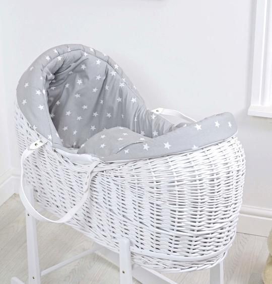 7 COLOURS LARGE SWEET DREAMS NEW WICKER MOSES BASKET WITH BEDDING SET AND STAND