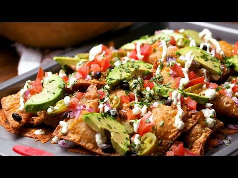 how to make cheesy stuffed wonton nachos tasty youtube chinese cooking recipes tasty easy cooking recipes pinterest