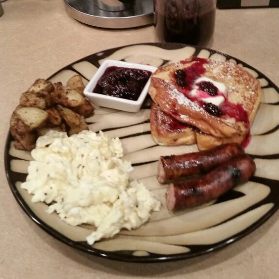 Homemade Brioche French Toast with Homemade Blueberry Reduction ...