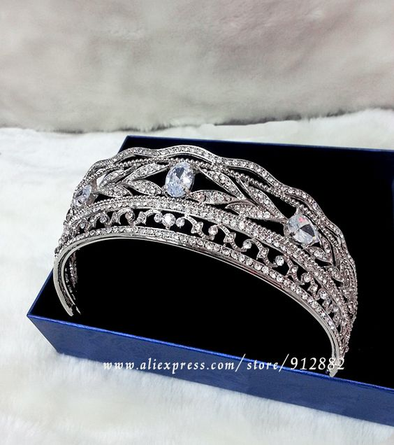 """Queen Diary"" Free Shipping 2014 New High Quality Cubic Zirconia Sparkling Large Tiara For Wedding US $32.62"