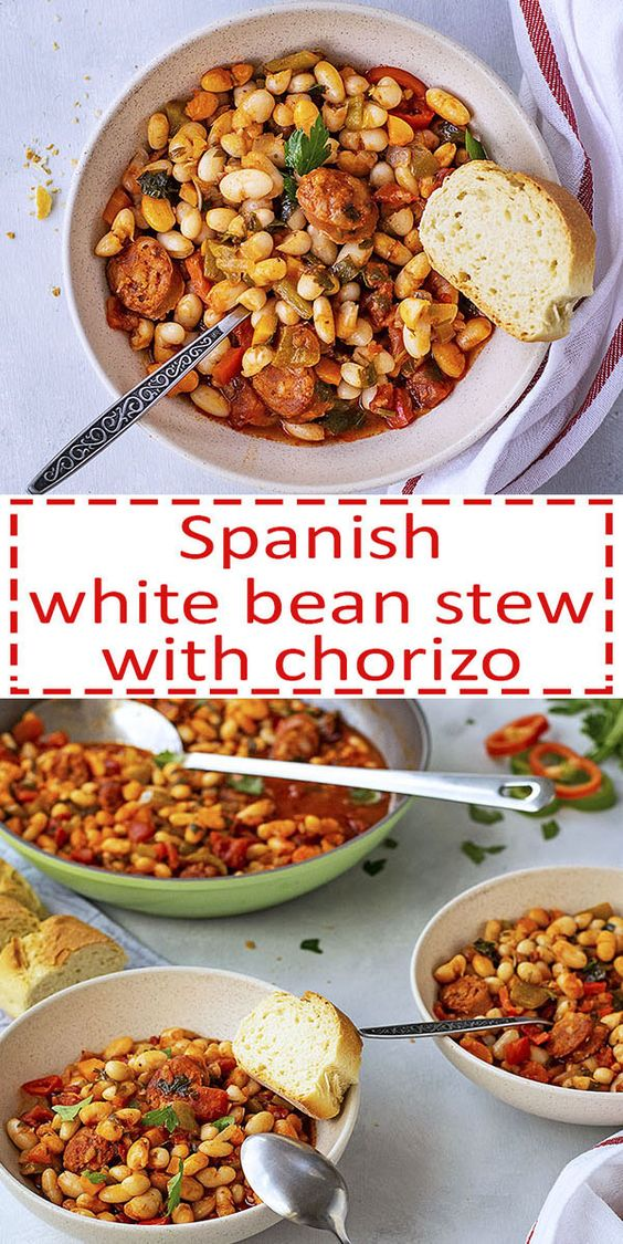 Spanish white bean stew with chorizo sausage