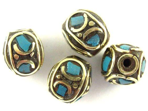 Brass w/Turquoise Inlay Tibetan Bead 10mm (TB344)