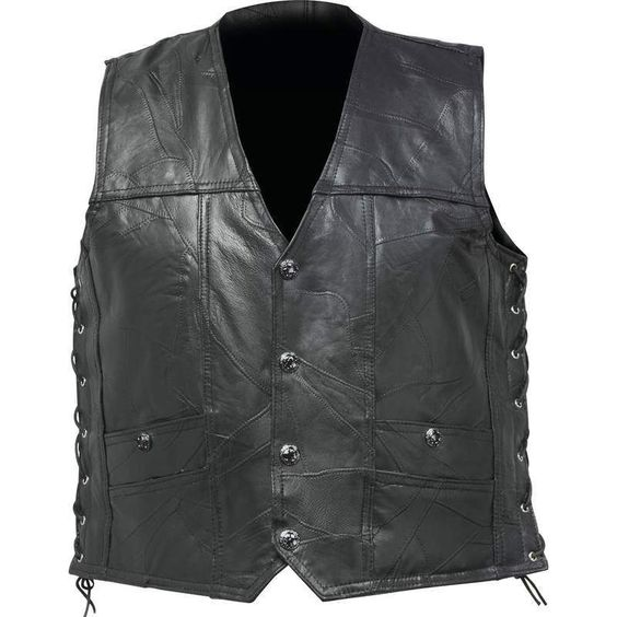 Leather Concealed Carry Motorcycle Vest, w/Lace Sides NEW!! #DiamondPlate
