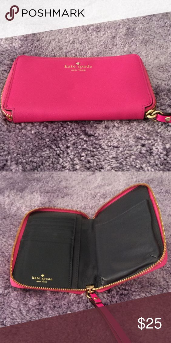 Kate Spade wallet EUC.... Dark pink with wrist strap kate spade Bags Wallets