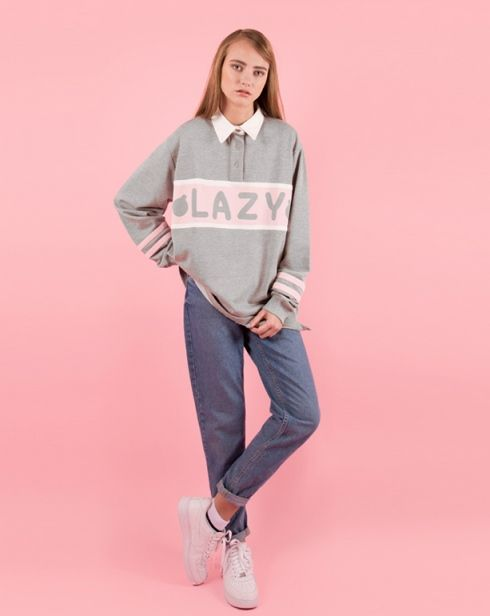 Lazy Oaf Lazy Girl Rugby Sweatshirt - Jumpers - Categories - Womens