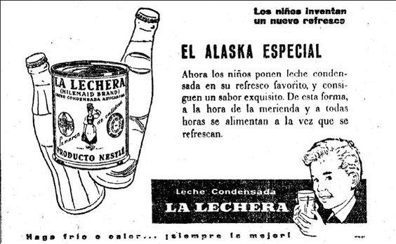 """Alaska, """"refresco"""" mezcla de leche condensada La lechera y Coca-cola o Pepsi (según sugieren las siluetas de botella del anuncio), ago 1956"""