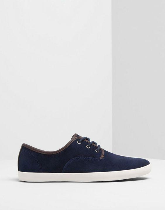 Pull&Bear - homem - sapatos homem - sapatilha elegante camurça - azul marinho - 13535312-V2014