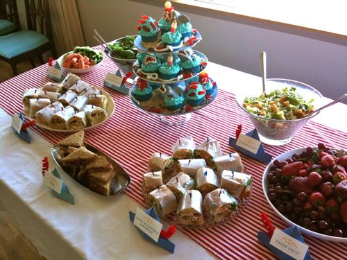 Nautical Party Food Ideas Sandwiches Wrapped In Wax Paper