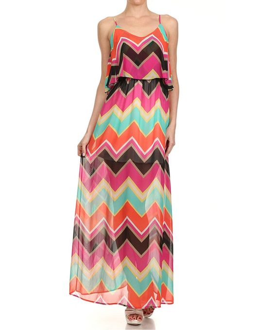 Look at this Vision Pink & Orange Chevron Overlay Maxi Dress on #zulily today!