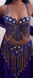 Crystal kostuum paars goud 7-delig - 7-piece Crystal collection bellydance costume