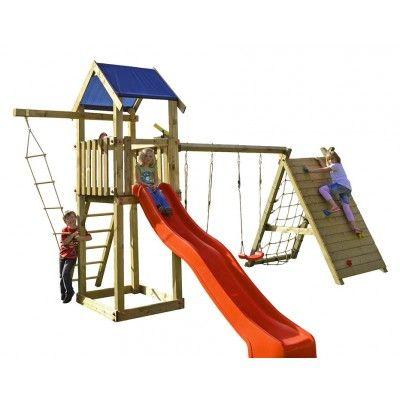 Beauty Woodini XL Kletterspielturm mit Doppelschaukel, Kletterwand, Kletternetz und 3,00 m Rutsche