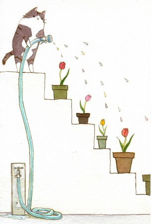 This is so not the way my kitty waters the plants in the garden!!! (Tulips by Kitagawa Natsumi)