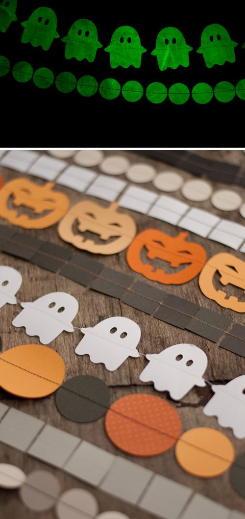 Glow in the dark Halloween garlands - sewn paper garlands are so easy to make!