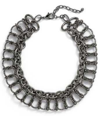 hematite double row link necklace