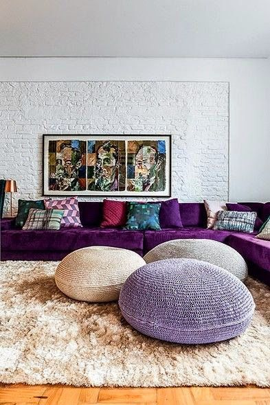 Purple, violet and white Living room. The most luxurious pieces and ambiences you ever seen are at www.homedesignideas.eu