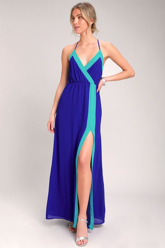 Lulus Exclusive The Lulus Bright Side Cobalt Blue Color Block Maxi Dress Is Here To Brighten Your Color Block Maxi Dress Turquoise Clothes Light Blue Dresses