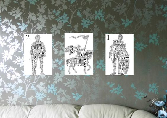 Knight in Armour/On Horseback Personalised Word Art Print. FREE UK P&P. Birthday, Special Occasion. - pinned by pin4etsy.com