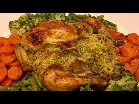 دجاج معمر بالشعرية الصينية ومحمر في الفرن سهل التحضير وروعة روعة في اللذة Youtube Poulet Farci Cuisine Poulet