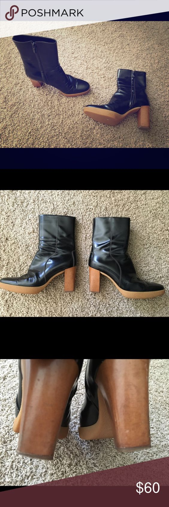 """Tod's Black Leather Rio Boots 7.5 Just beautiful! In good pre owned condition with some minor wrinkles in leather and wear on heel (see photos). These boots have a wood heel and rubber platform. Camel colored stitching on leather. Made in Italy. Heel measures 3.5""""'and raised platform is 1"""". Zips on side and super comfy! Box and shoe bag no longer available. Tod's Shoes Heeled Boots"""