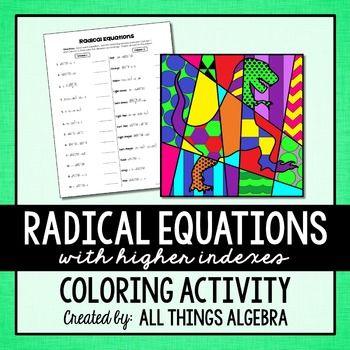 Worksheets Radical Equation Review Worksheet Match Up activities teacher pay teachers and teaching on pinterest radical equations with higher indexes coloring activity