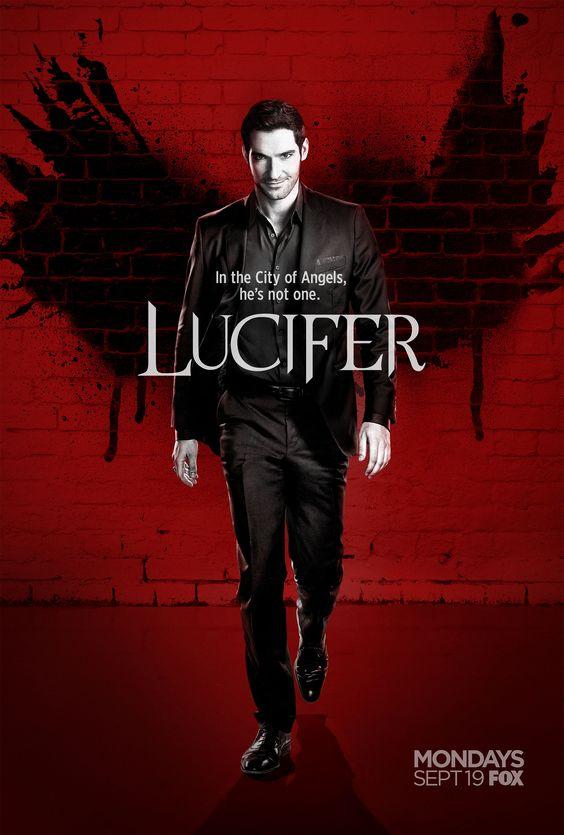 dit is een poster van de serie lucifer op netflix het gaat over de duivel die naar de wereld gaat het genre is thriller,comedy