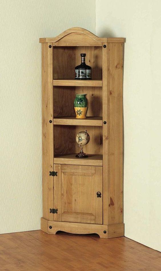 Corner Display Cabinet Pine Traditional Hallway Shelves Door