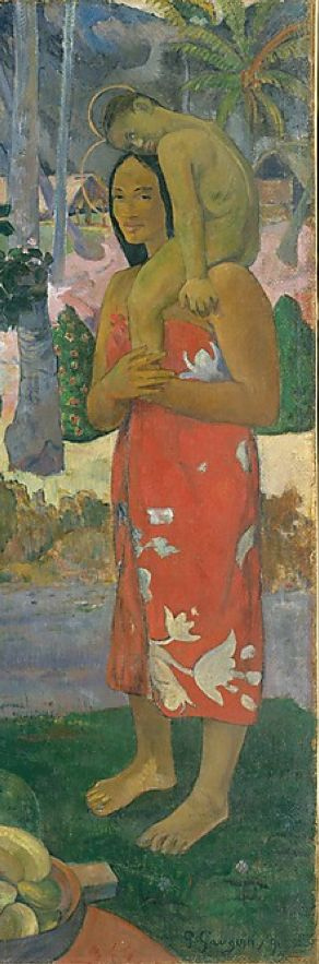 Painting by Paul Gauguin (1848-1903), 1891, Ia Orana Maria (Hail Mary), oil on canvas. (detail)