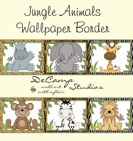 Cute Jungle Animals Wallpaper Border Wall Decals For Baby Boy Safari  Nursery Theme Or Childrenu0027s Zoo