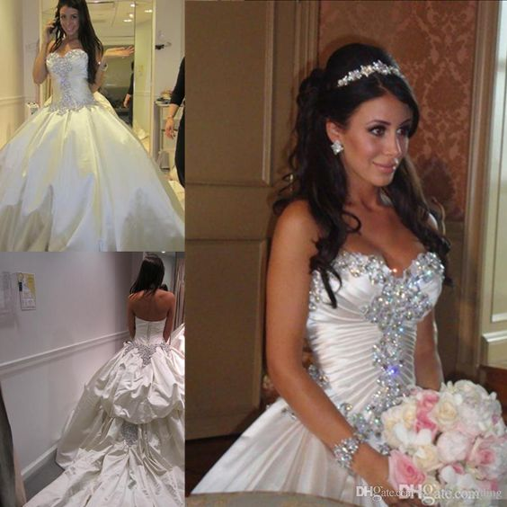 Luxury Cathedral Train 2016 Wedding Dresses Sweetheart Rhinestone Beaded Custom Made Royal Princess Ball Gowns For Outdoor Wedding Cheap Wedding Dress 2011 2015 Wedding Dresses From Sweety_wedding, $226.37| Dhgate.Com