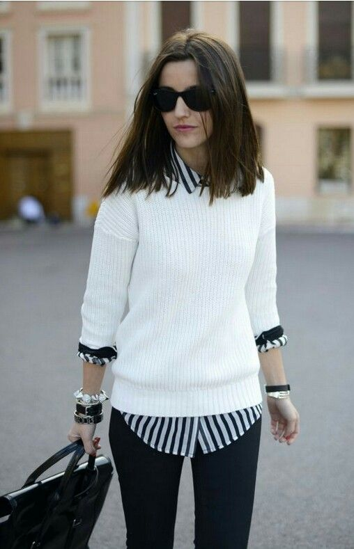 White crewneck sweater + striped button-down shirt.