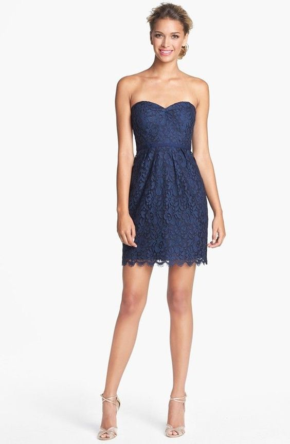 $375 JENNY YOO 'Hudson' Lace STRAPLESS Sheath Dress WEDDING NAVY ...