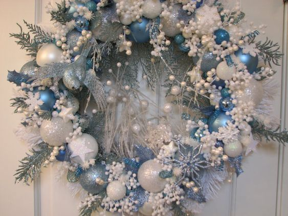 Ice Blue And White Christmas Wreath Ornament Wreath