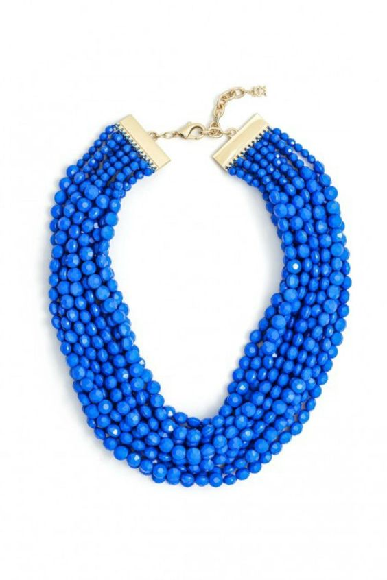 "Beading Bib  24"" Layered Necklace Make a statement with this 7 stand lightweight beaded bib necklace. 3"" extension. Lobster claw closure.  Cobalt Beaded Bib by Zenzii. Accessories - Jewelry - Necklaces Florida"