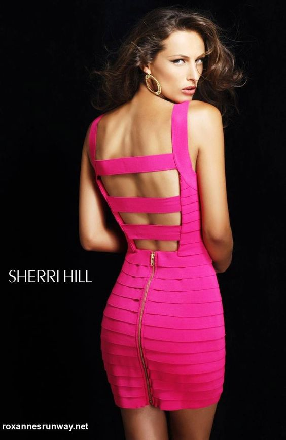 Details about Sherri Hill 2220 Hot Pink Bandage Cocktail Dress 4 ...