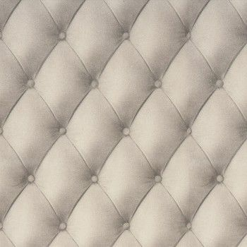 Metropolitan diamond padded wallpaper ivory silver 61413 for Padded wall wallpaper
