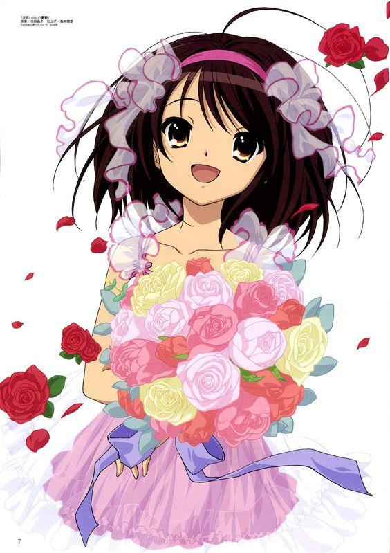 涼宮ハルヒがカラフルな花束を持っている「涼宮ハルヒの憂鬱」の画像