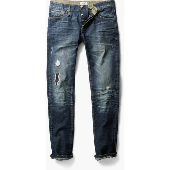MANGO MAN Straight-Fit Dark Marc Jeans ($80) ❤ liked on Polyvore featuring men's fashion, men's clothing, men's jeans, dark vintage blue, mens dark ripped jeans, mens dark blue jeans, mens vintage jeans, mens straight jeans and mens destroyed jeans