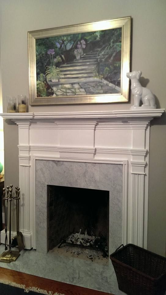 Master Bedroom Fireplace With Carrera Marble Surround And