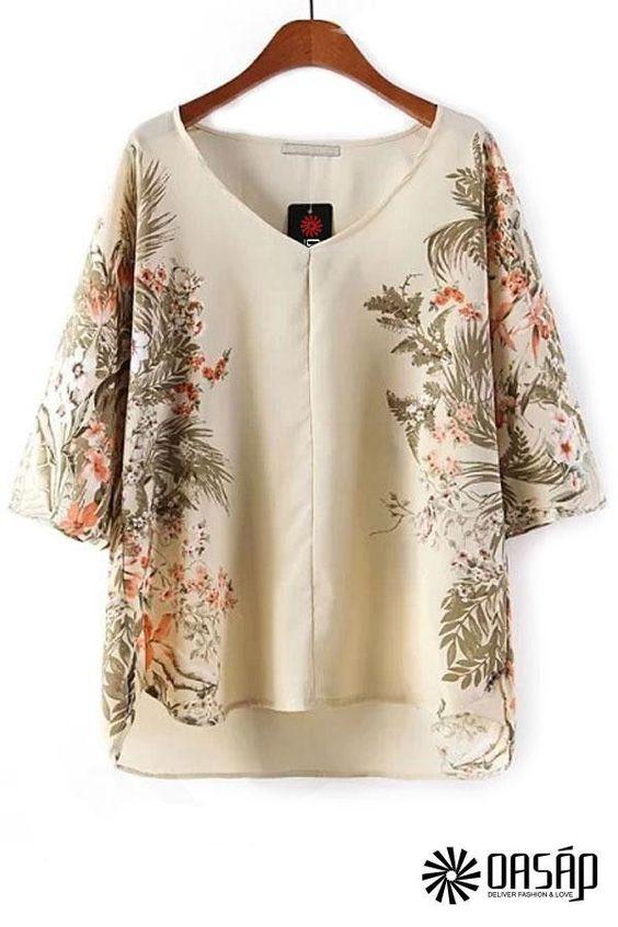Oasap Women's Floral V Neck High-low Blouse