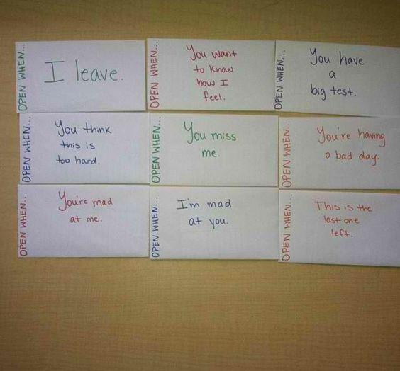 """My own """"Open When"""" letters! ❤️ #boyfriendgifts #suprise #anniversary"""